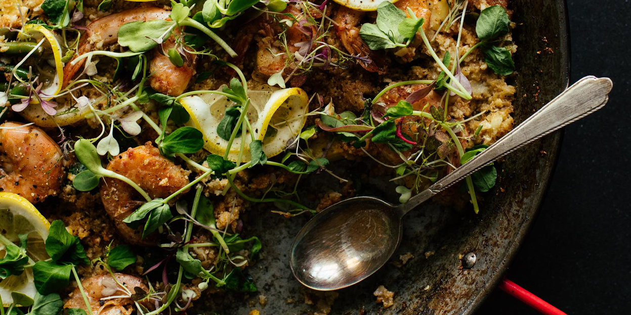 Shrimp and Spring Vegetable Cauliflower Rice Paella Recipe